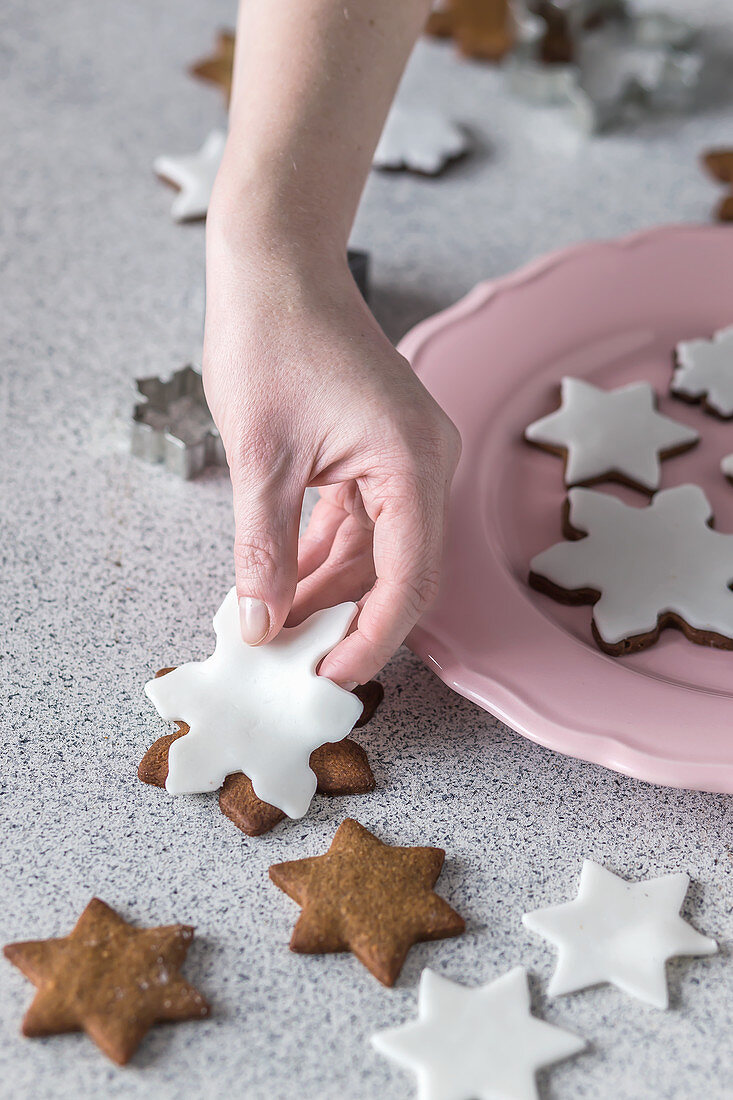Gingerbread cookies with fondant icing