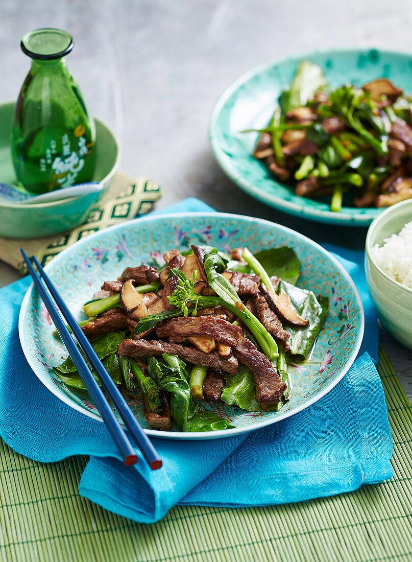 Stir-Fried Beef and Gai Lan