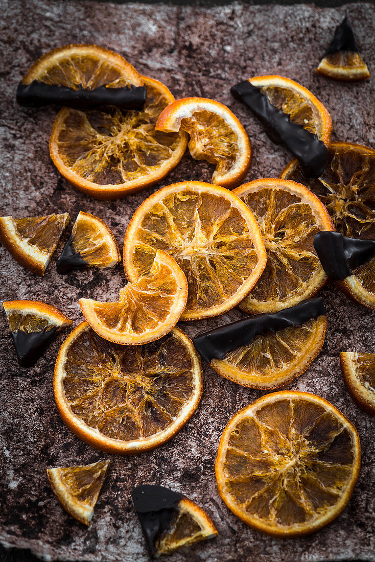 Dried orange slices with cooking chocolate