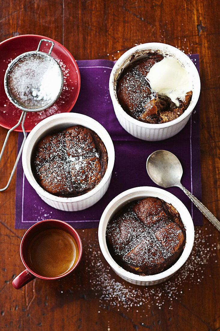 Choc-cherry hot cross bun puddings