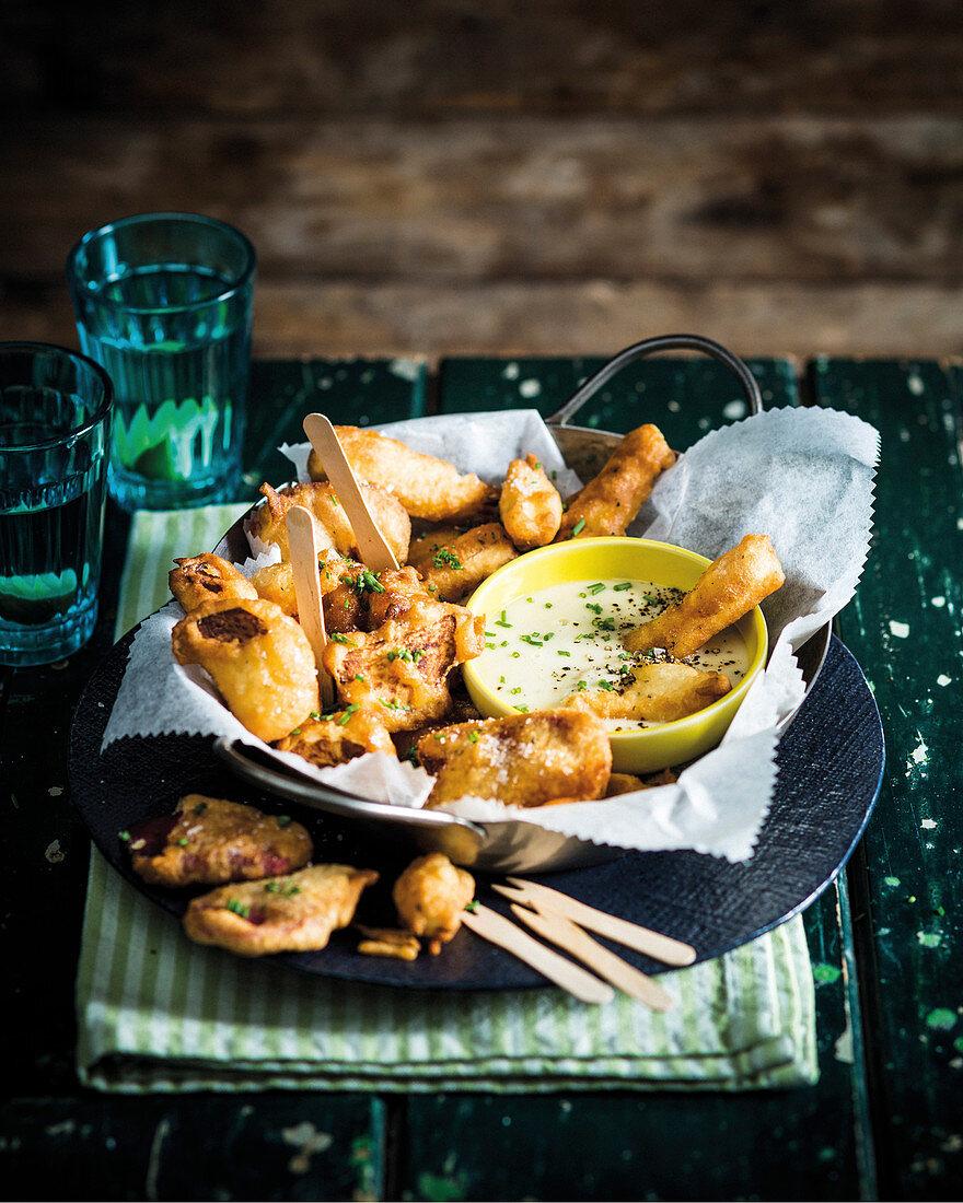 Root vegetable tempura with garlic dipping sauce
