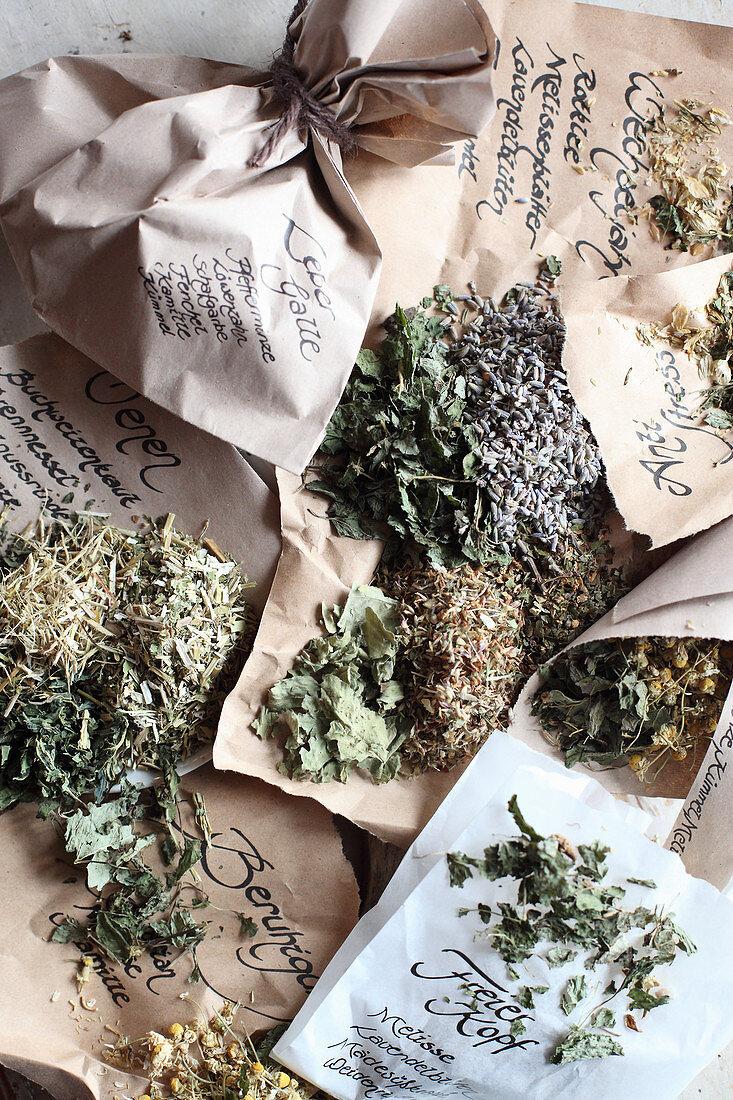 Various mix-it-yourself medicinal teas