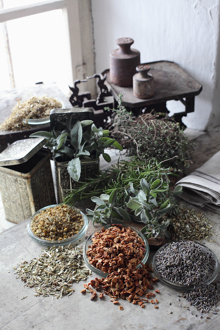 Herbs for mix-it-yourself medicinal teas with a pair of old scales