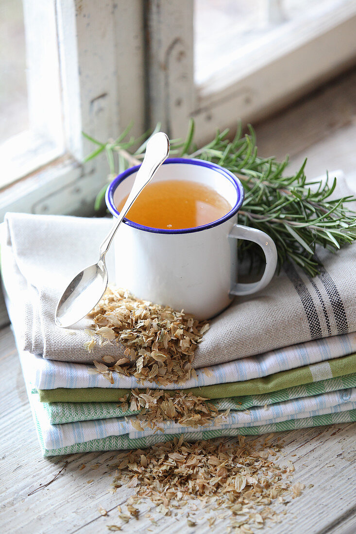 A cup of tea and herbs