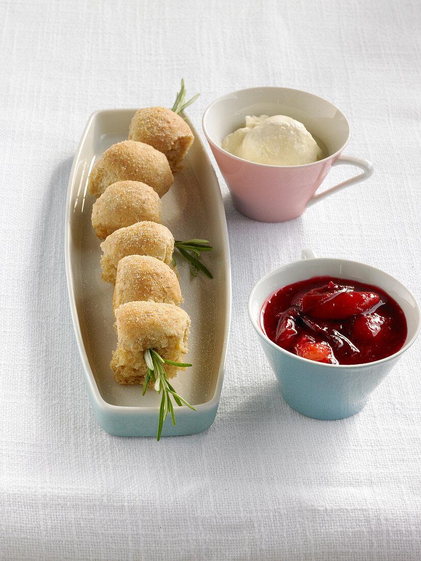 Mini Buchteln (baked, sweet yeast dumplings) with cinnamon parfait and damson compote