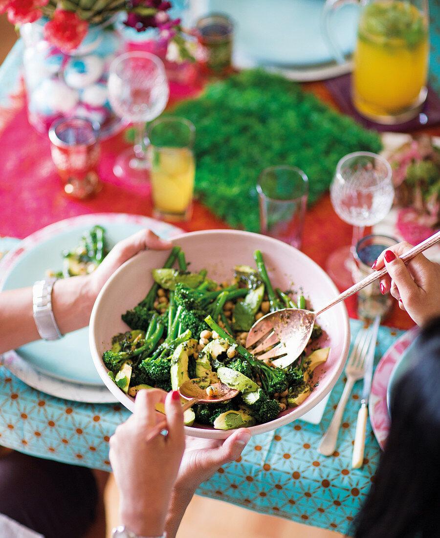 Mint sauce-dressed greens