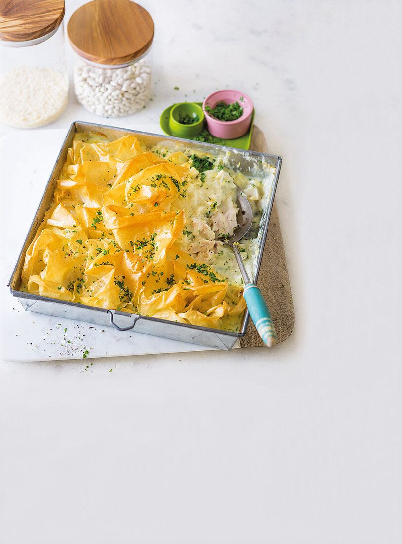 Hake thermidor with phyllo pastry crust