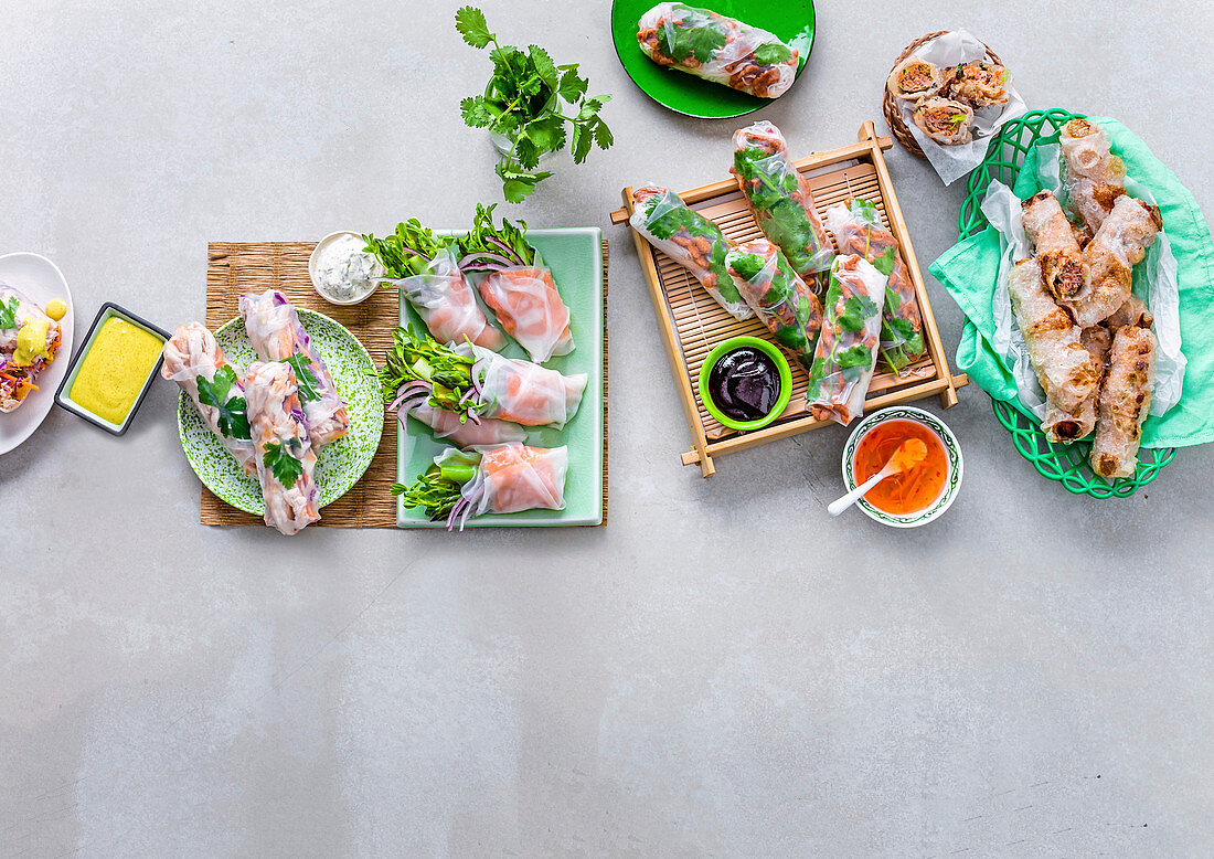 Five ways with rice paper rolls