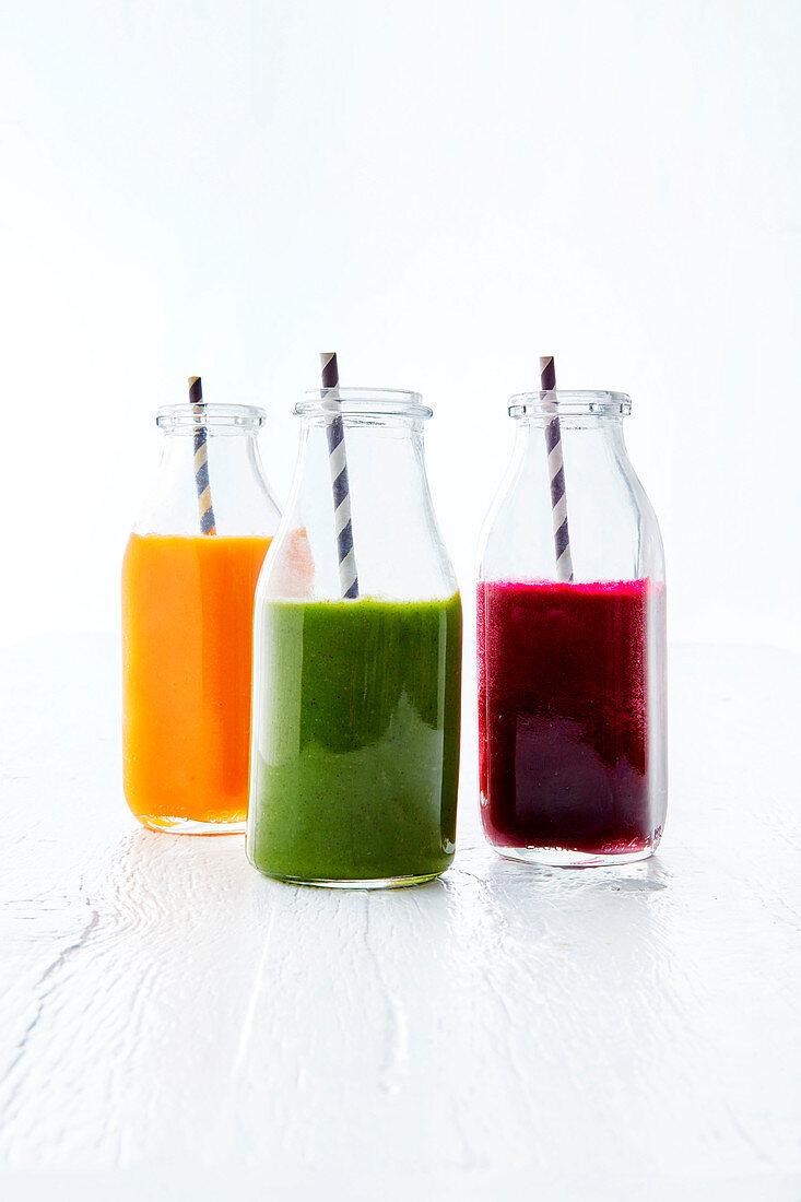 Spiced orange and carrot, kale and kiwi, bitey beetroot juice