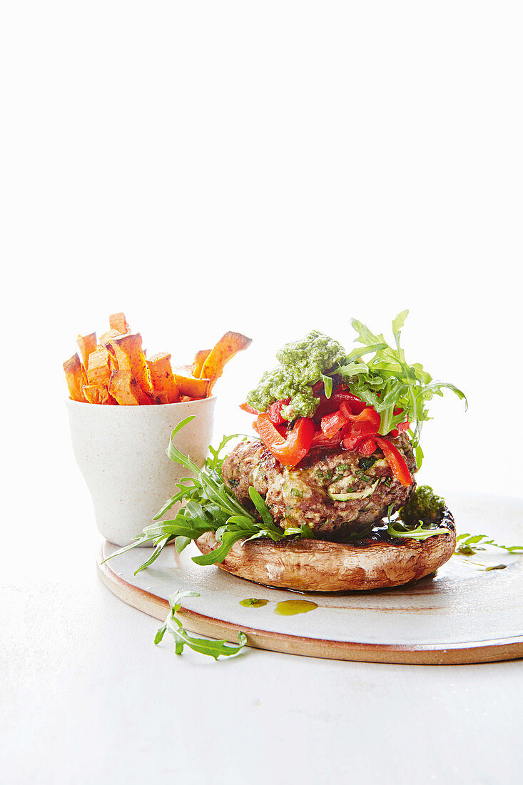 Open burger with sweet potato chips