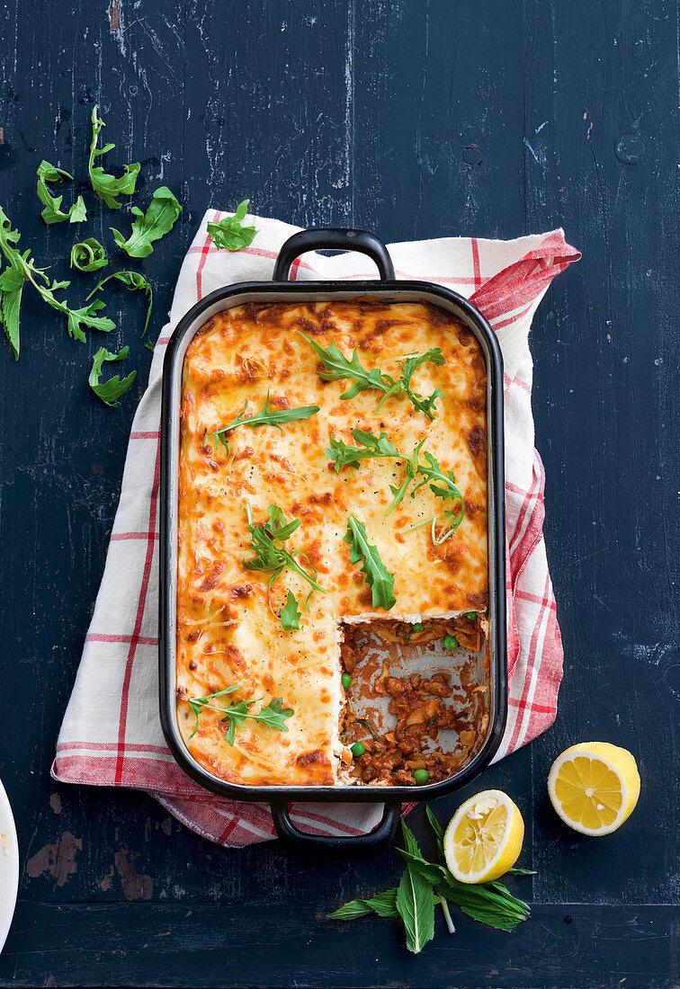 Lamb, pea and mint lasagne