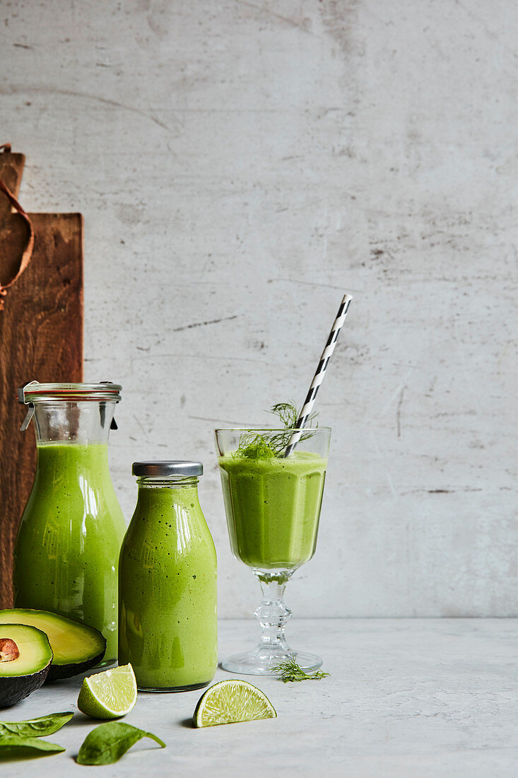 Avocado and lime smoothie for lunch
