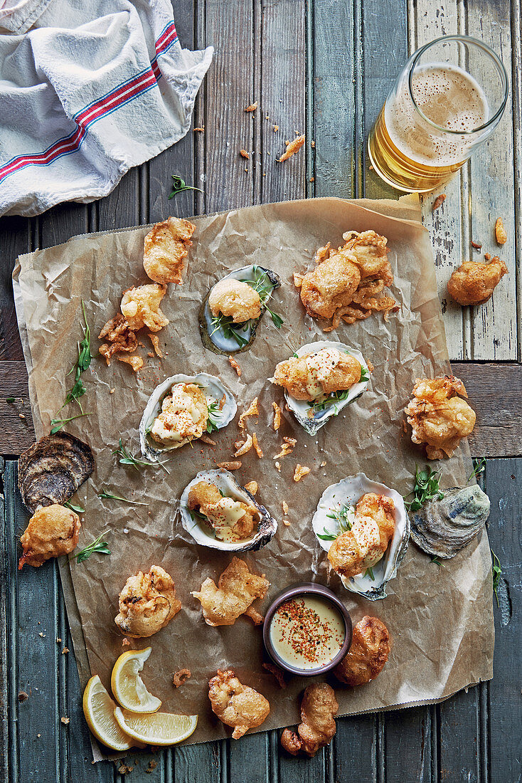 Rustic fried oysters with garlic aleppo aioli and beer