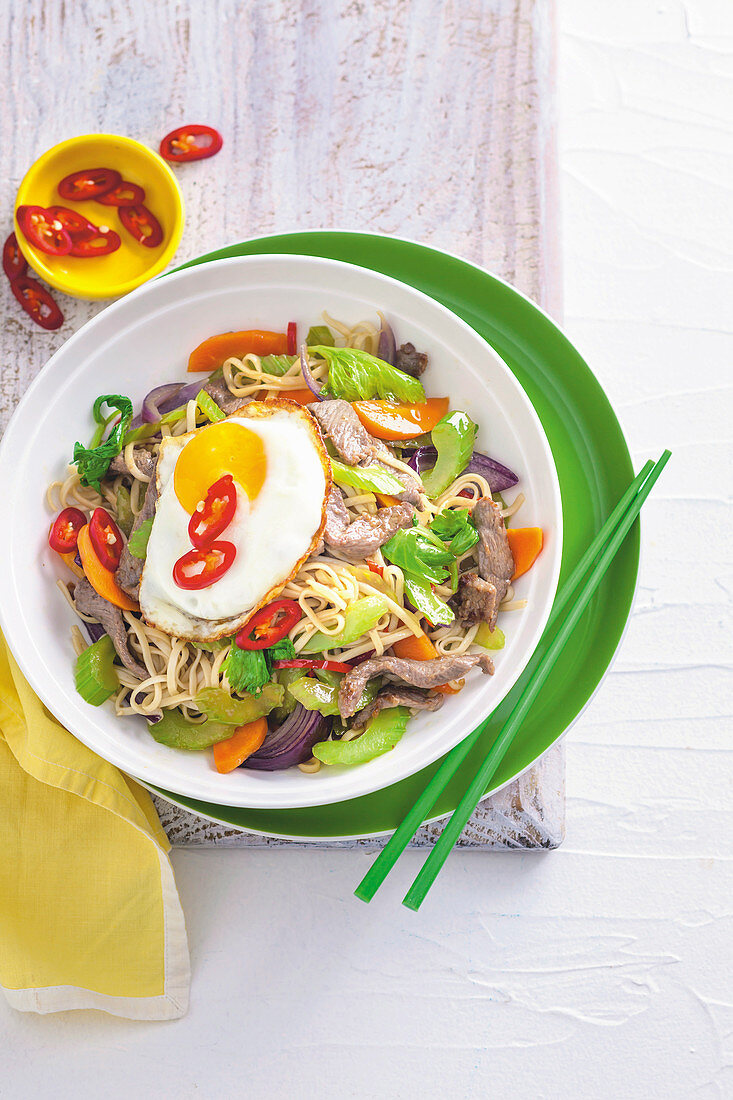 Celery and beef noodle stir-fry