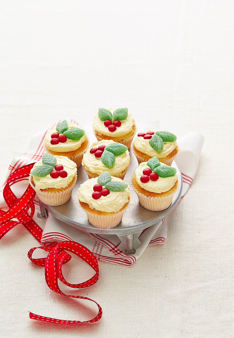 Christmas with Woman s Day - Extra-Special Santa Snacks - Holly Cupcakes