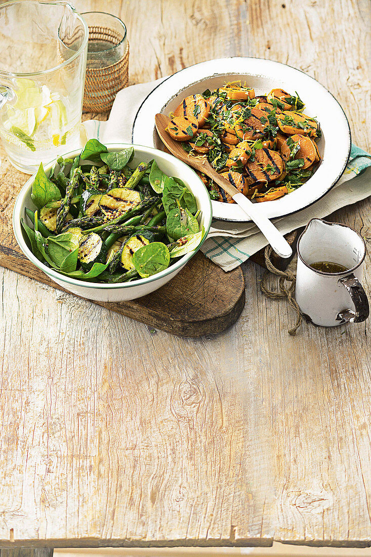 Barbecued sweet potato and green vegetable salad