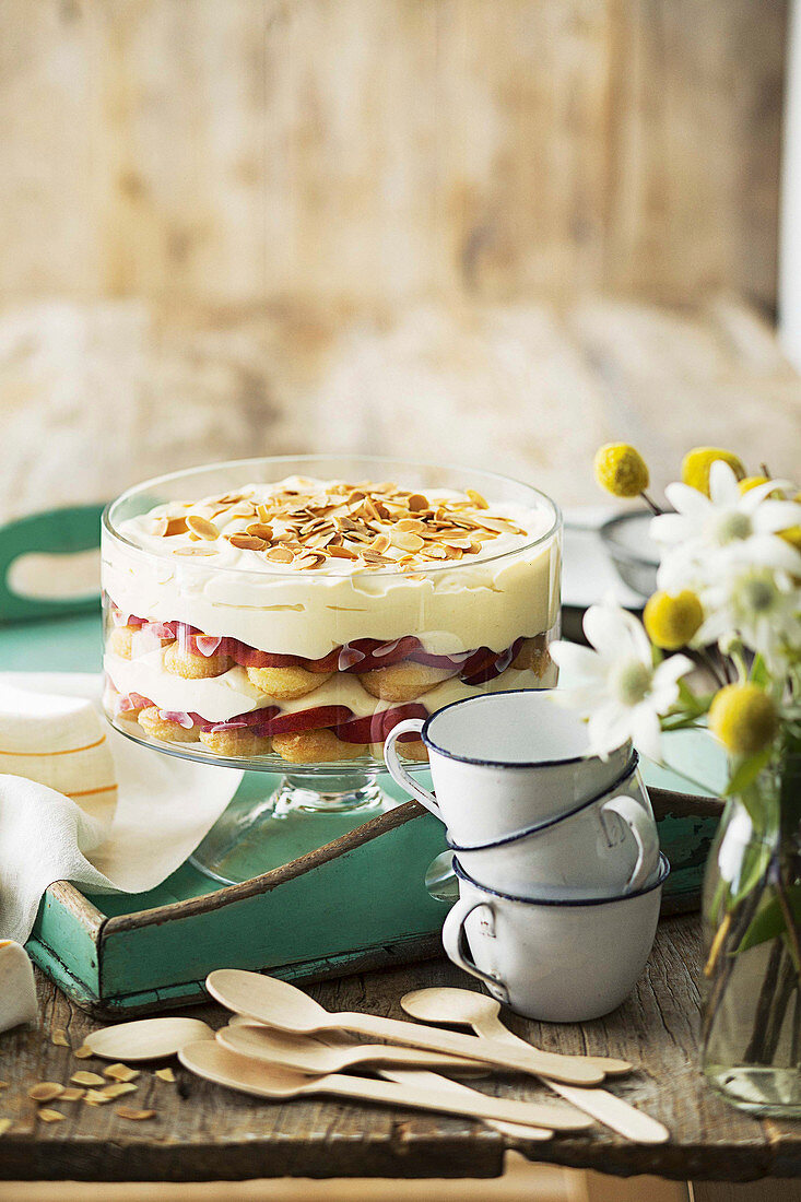 Peach and almond tiramisu