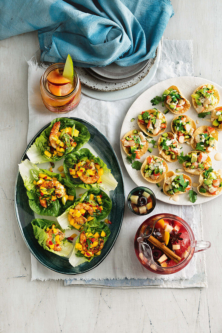 Barbecued prawn and mango lettuce cups and Mini prawn cocktail pappadums