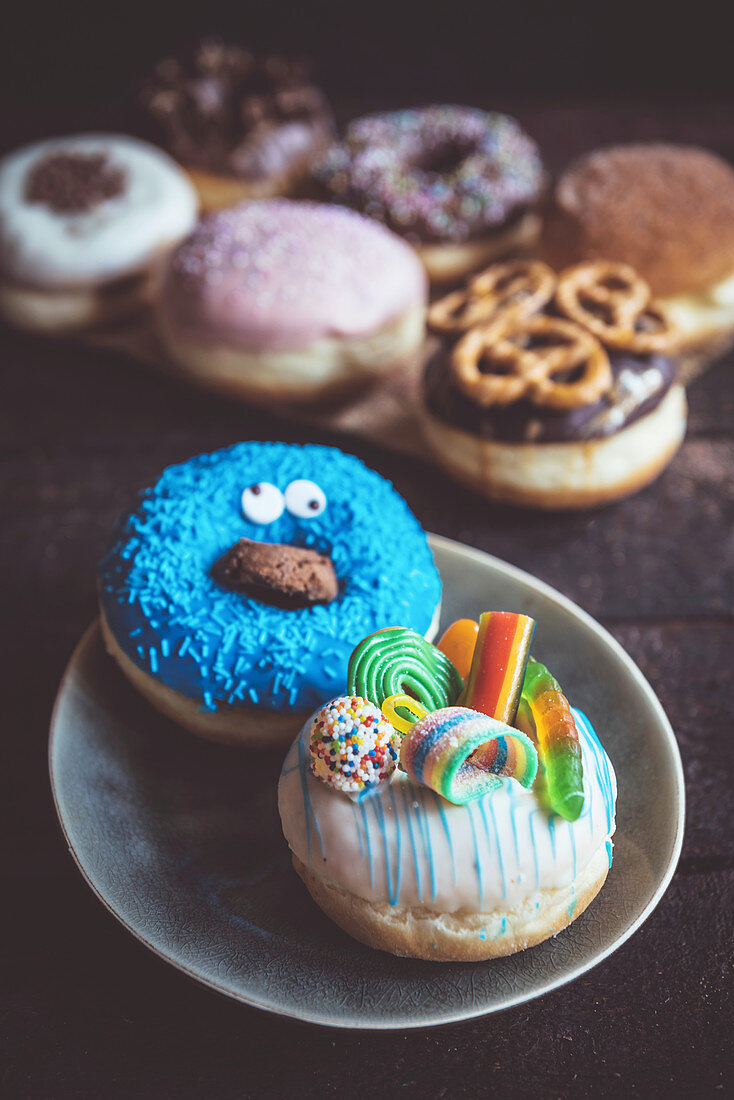 Sweet homemade donuts served, selective focus