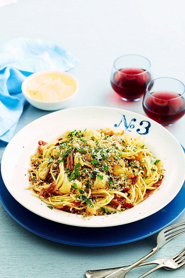 Pancetta Spaghetti with caper crumbs
