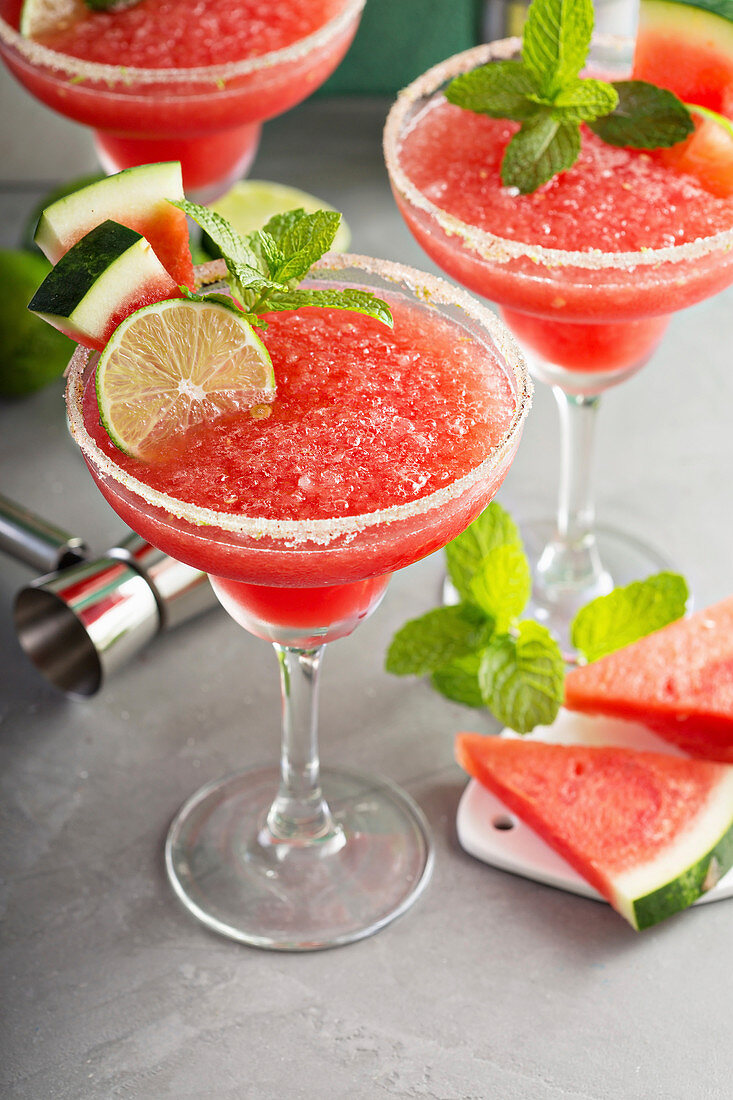 Frozen watermelon margaritas with lime and mint