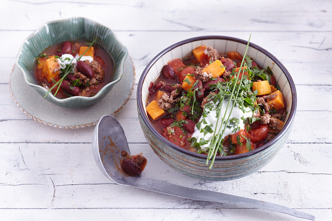 Quick Texas chilli with sweet potatoes