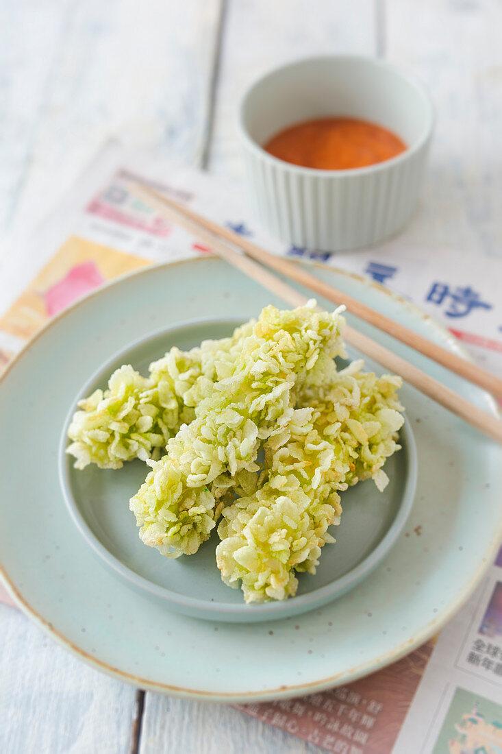 Fried tofu with crispy green rice (Asia)