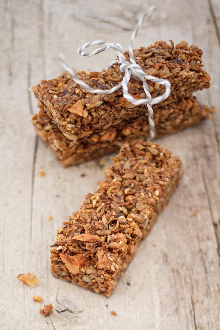 Muesli bars with dried Buffalo worms, walnuts, almonds, sesame seeds and sunflower seeds