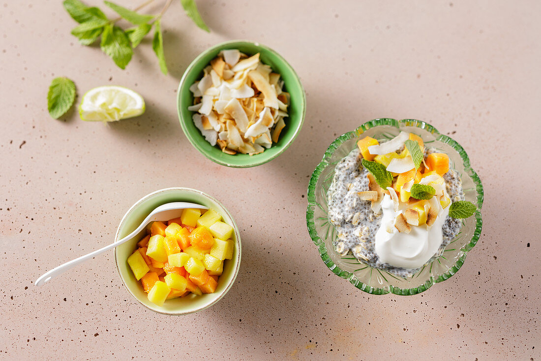 Low-carb tropical chia and coconut pudding
