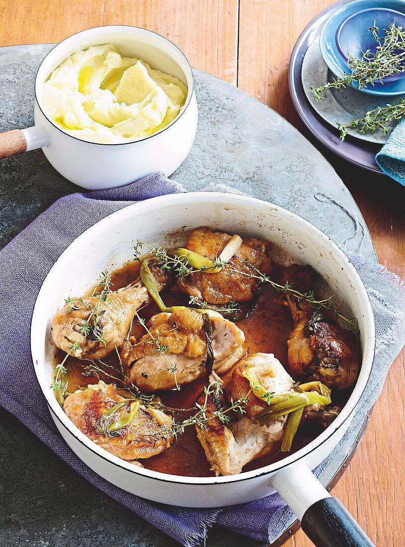 Chicken chasseur with garlic mash