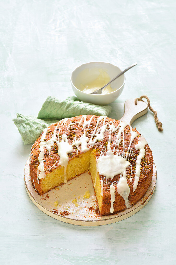 A moist sponge cake with passion fruit nectar and pistachios