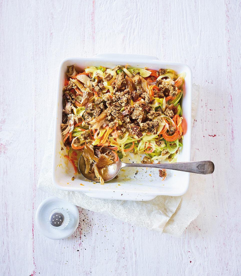 Leek mackerel with vegetable noodles (low carb)