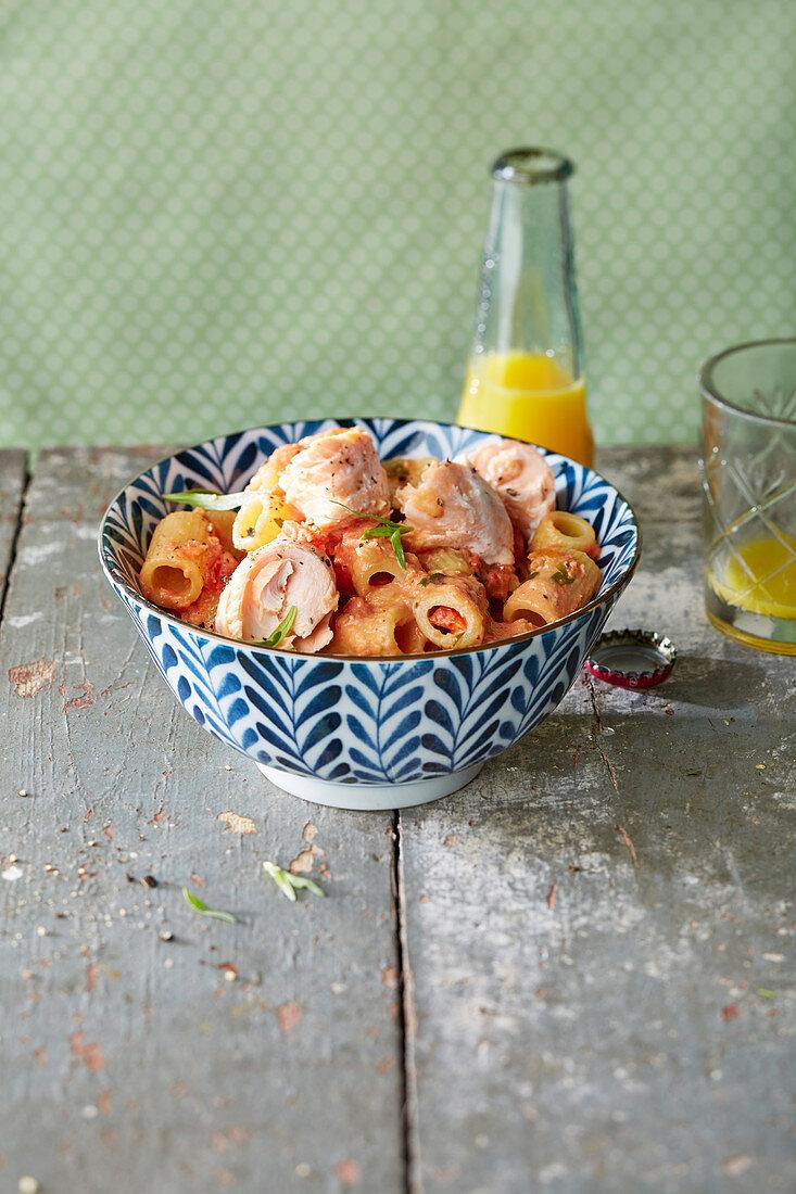 Salmon pasta with tarragon cream