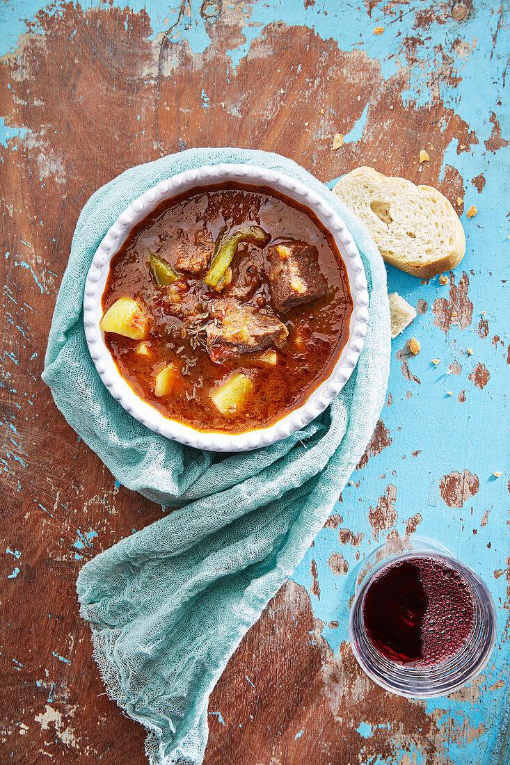 Rich goulash soup (top view)