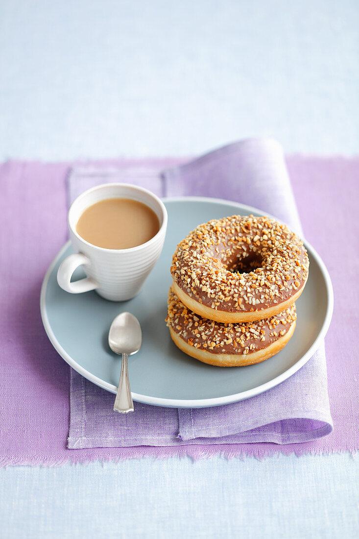Chocolate donuts and milk coffee