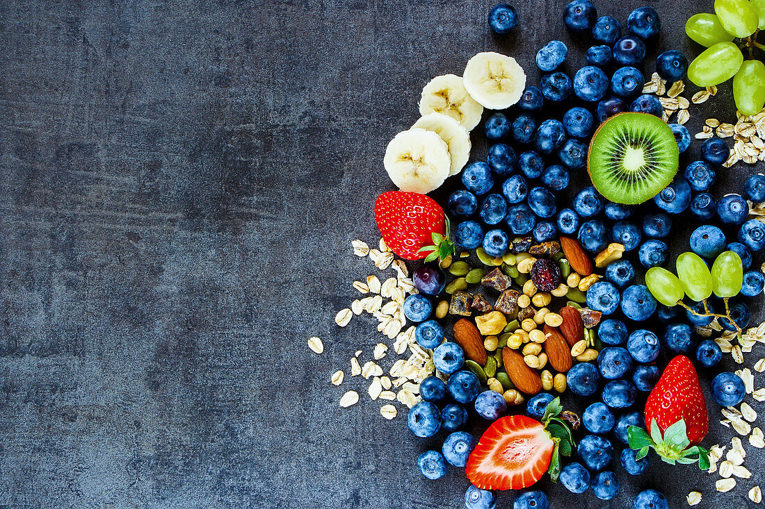 Healthy ingredients for muesli and smoothies (seen from above)