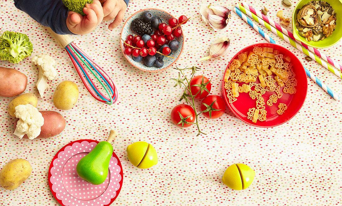 An arrangement of ingredients for children's meals