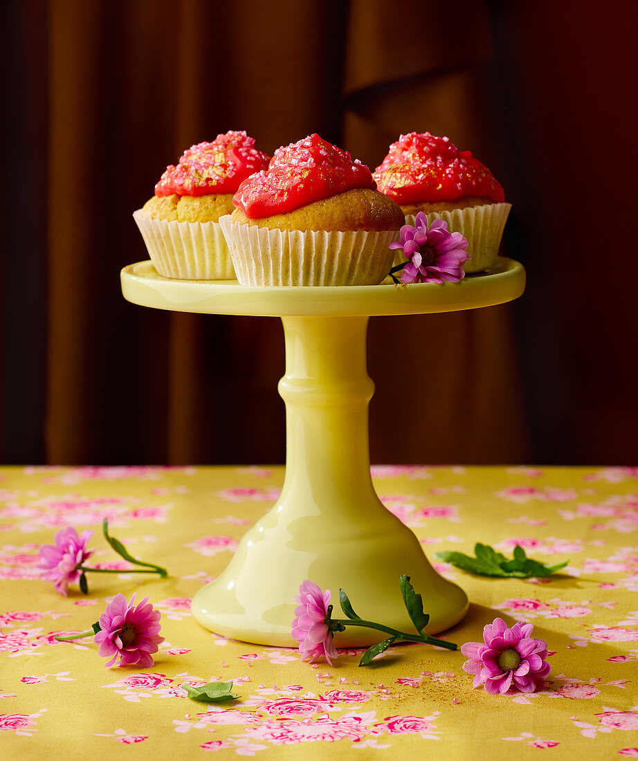 Cupcakes for Valentine's Day with strawberry frosting