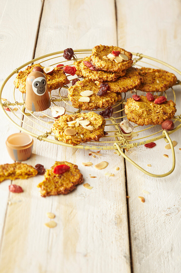 Muesli biscuits on a wire rack