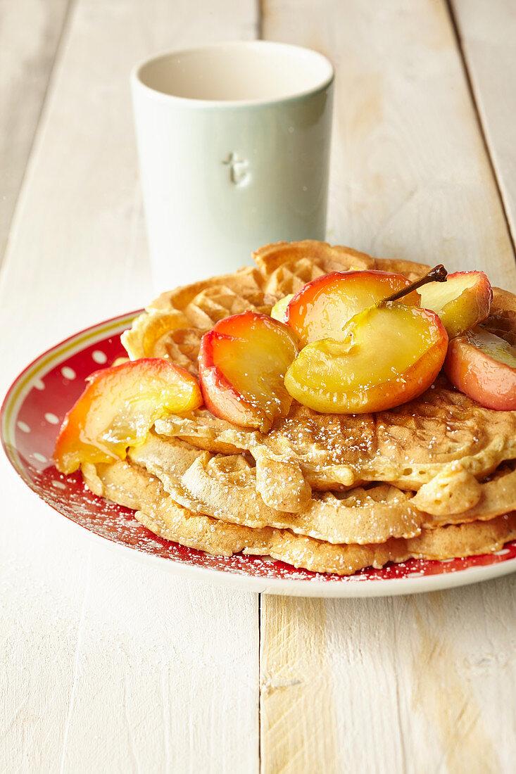 Cinnamon waffles with caramel apples