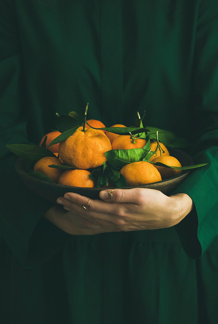 Fresh raw tangerines citrus fruits with leaves in plate in hands of girl wearing green dress