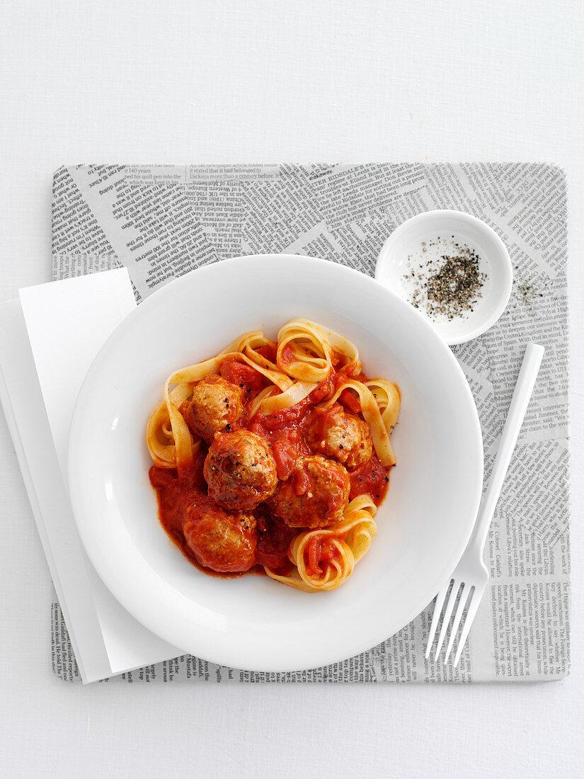 Tagliatelle with meatballs and tomato sauce
