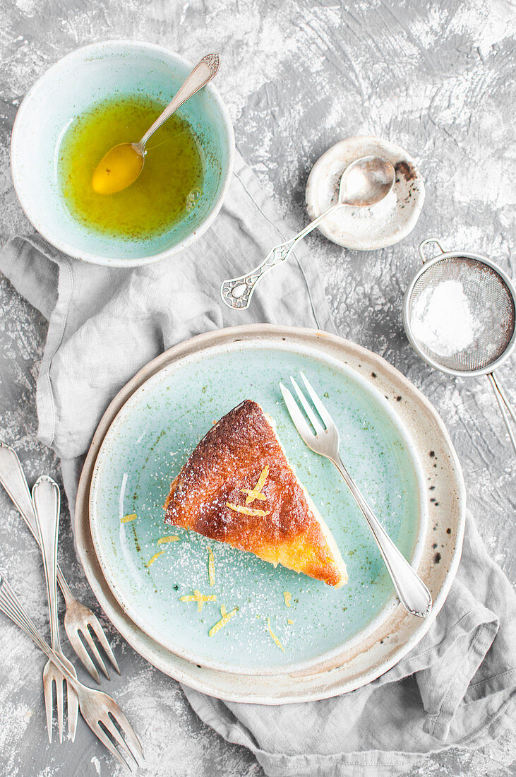 Cheesecake served with citrus syrup