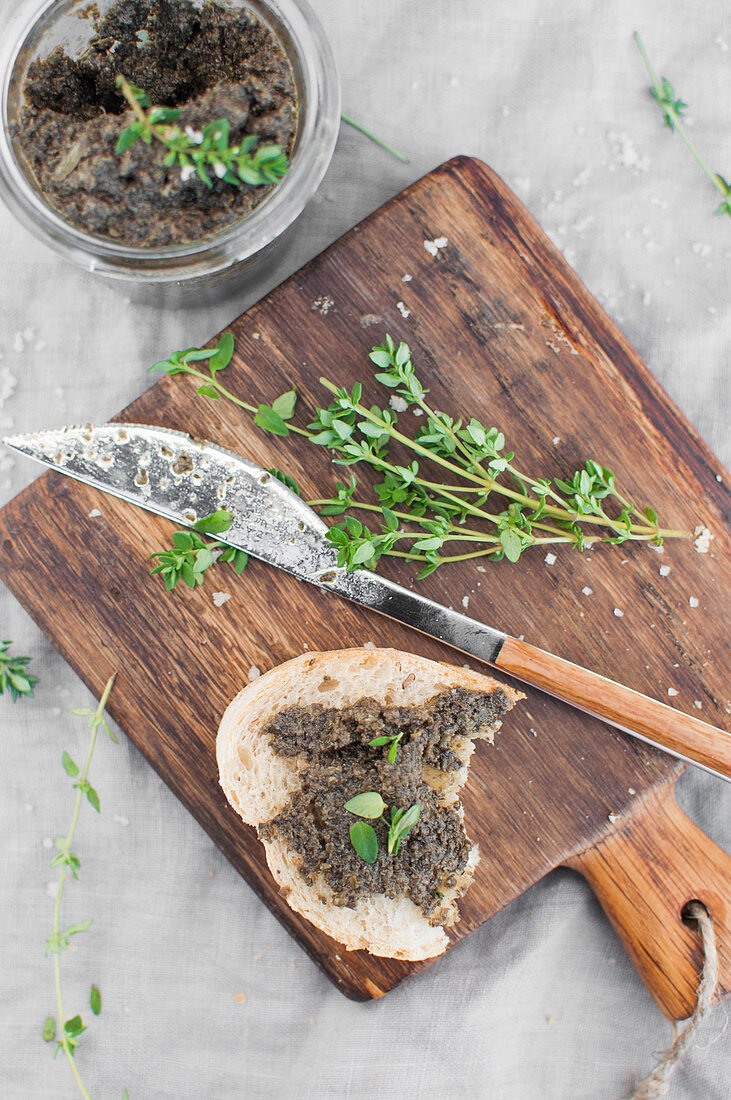 Vegan tapenade made with black olives, olive oil, capers and sea salt