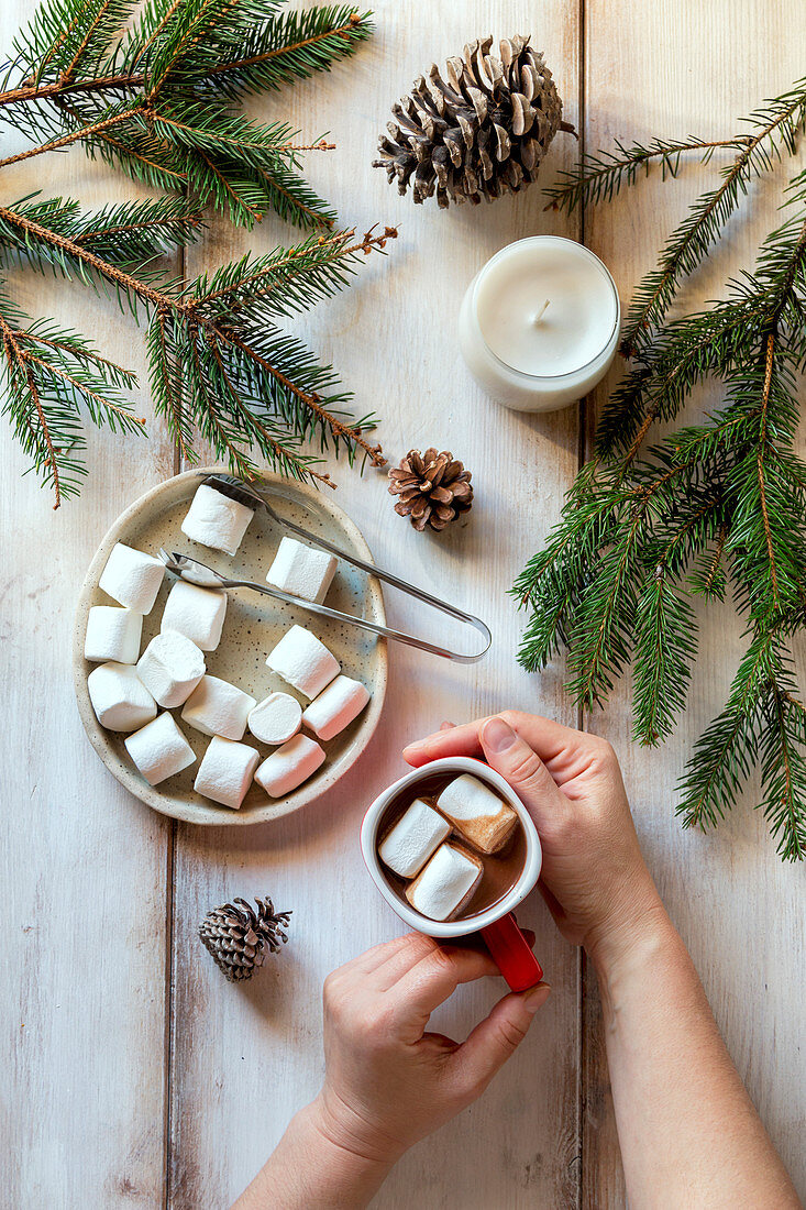 Hands holding a cup of hot chocolate, white candle, spruce cones and spruce tree branches on the table