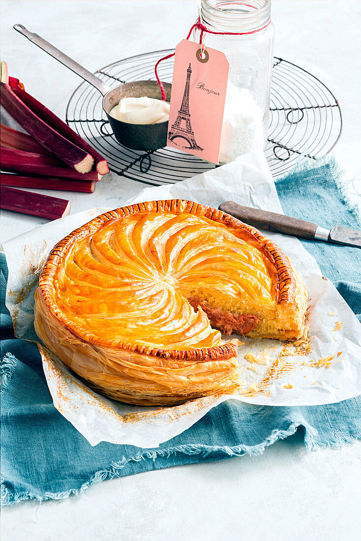 Rhubarb and almond pithivier