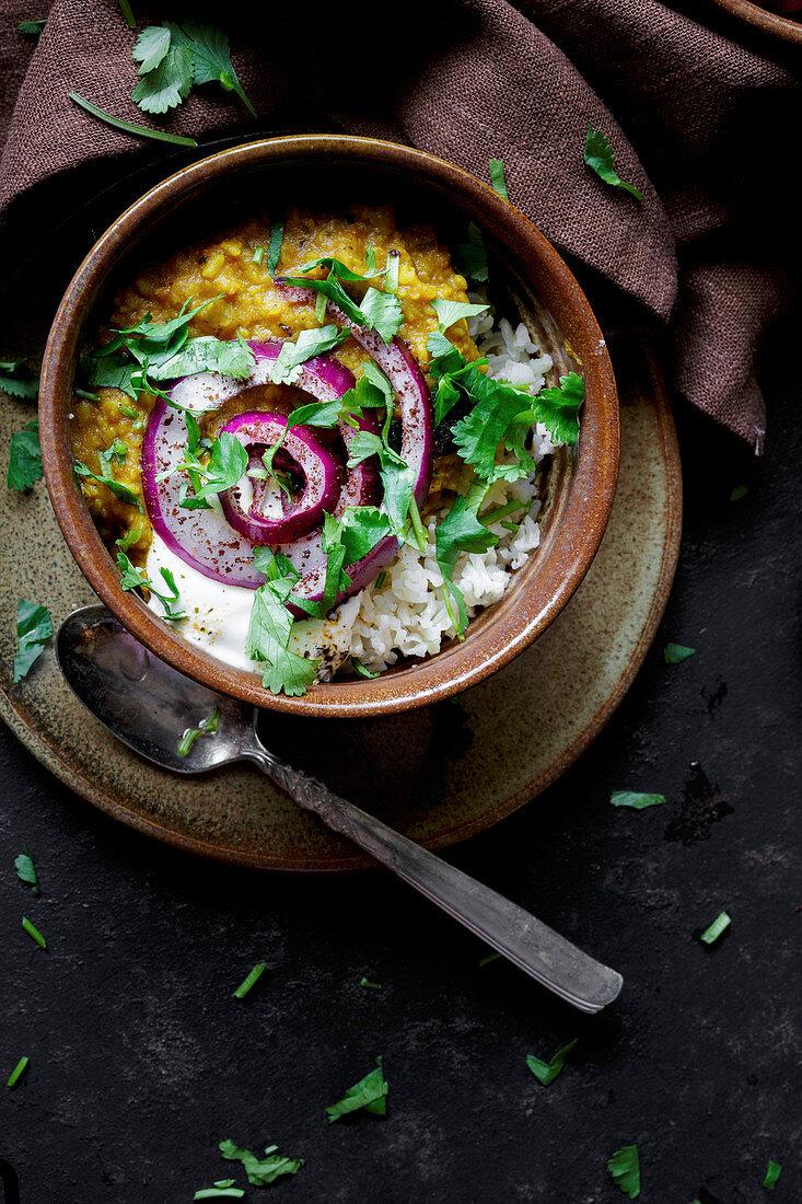 Dal and Rice (Indian Vegan Dinner)