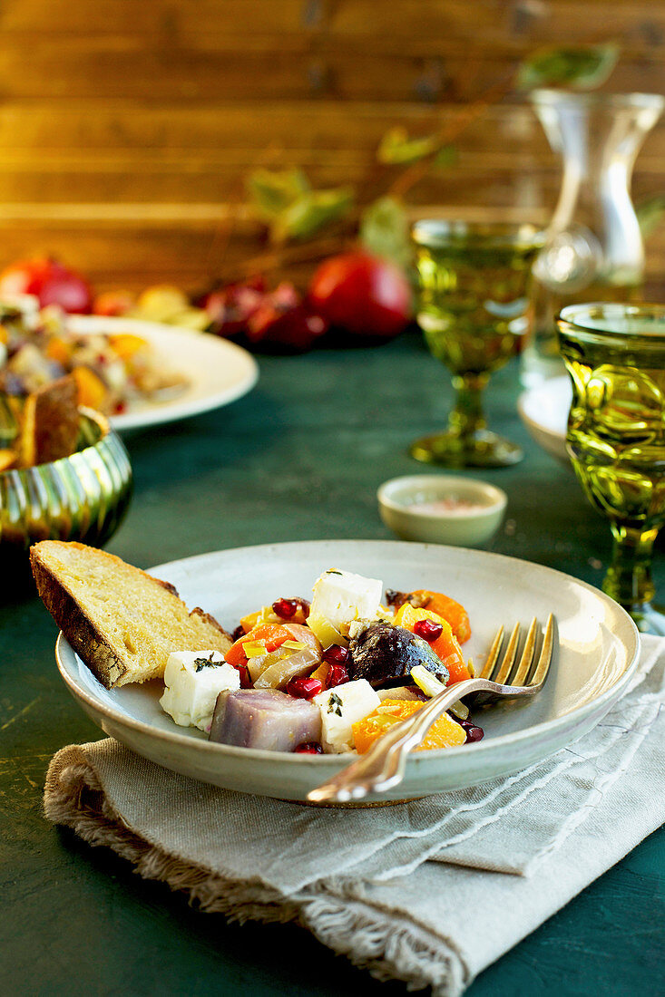 Olive Oil Wine Roasted Vegetable with Feta served with bread and wine