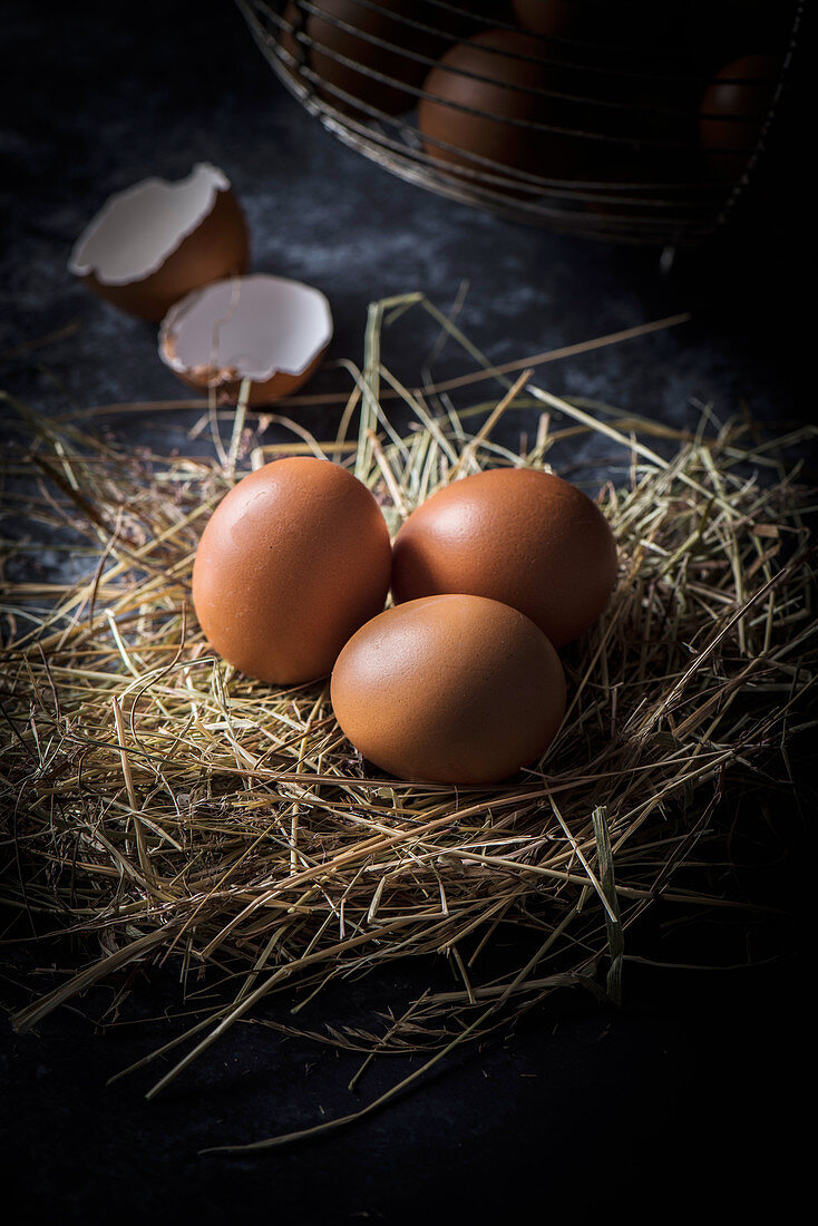 Brown eggs on straw