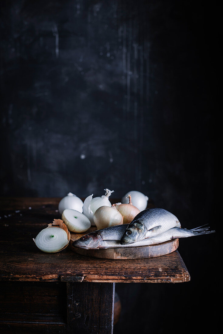 Still life with herring and onions